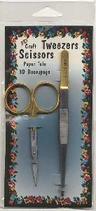 Craft Scissors and Tweezers both with Straight Blade